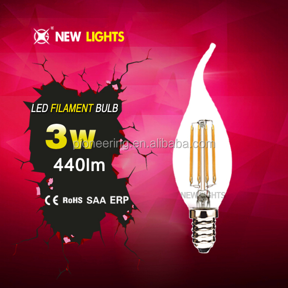 360 degree dimmable C35t 4w CE ROHS UL high lumen carbon led filament bulb light
