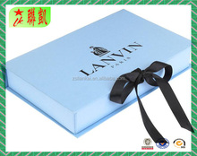 Custom Printed Logo Luxury Clothing Gift Paper box Packaging with ribbon