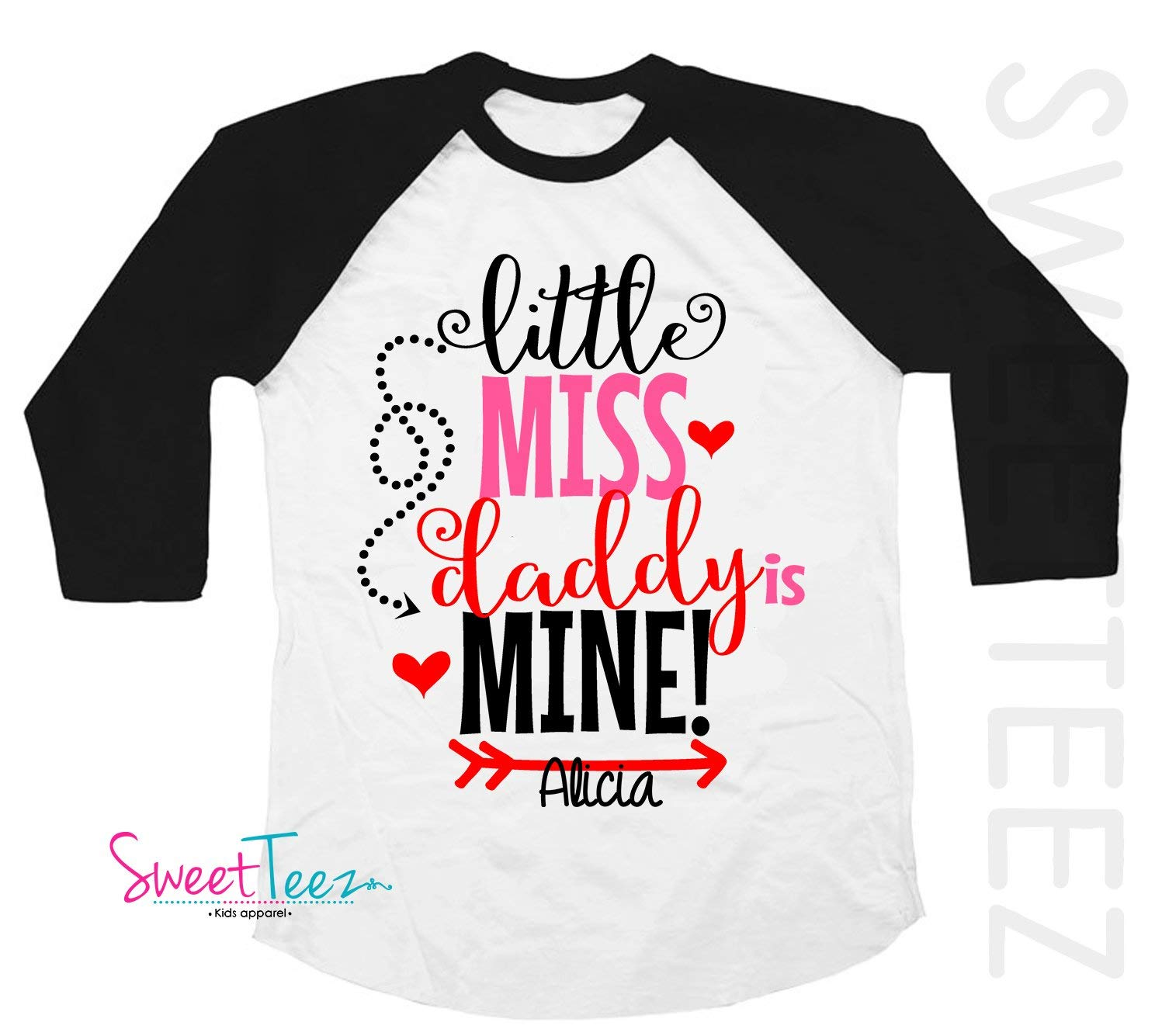 a14ff71d Get Quotations · Little Miss Daddy Is Mine Shirt Personalized Valentine's  Day Shirt Miss Shirt Girl Black Raglan with