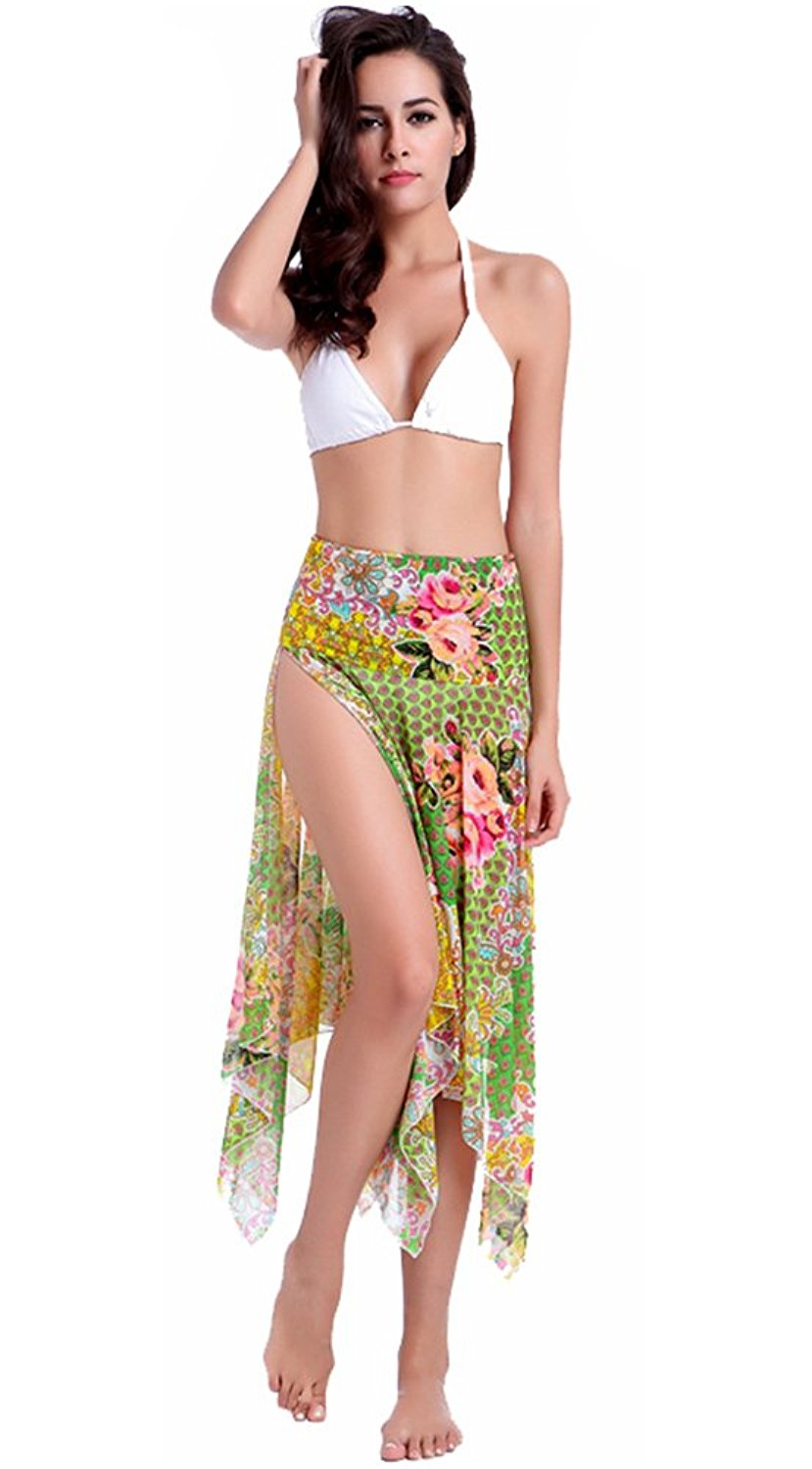 1559c7c8ff Get Quotations · Smibra Womens Printing Sarong Side Slit Beach Skirt Cover  UPS One Pieces Swimsuits
