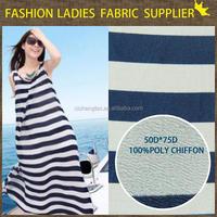 shaoxing cicheng stripe chiffon fabric print poly chiffon