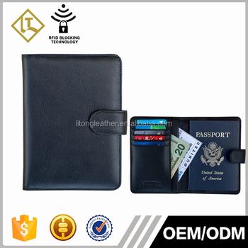 c3da8789cd4c wholesale custom branded bifold travel wallet designer genuine leather  wallet mens RFID Blocking travel leather passport