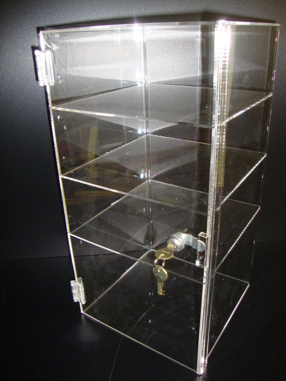 "Marketing Holder Acrylic Lucite Showcase Jewelry Pastry Bakery Counter Display W/door & Lock (1, 9 1/2"" x 9 1/2"" x 19""H)"