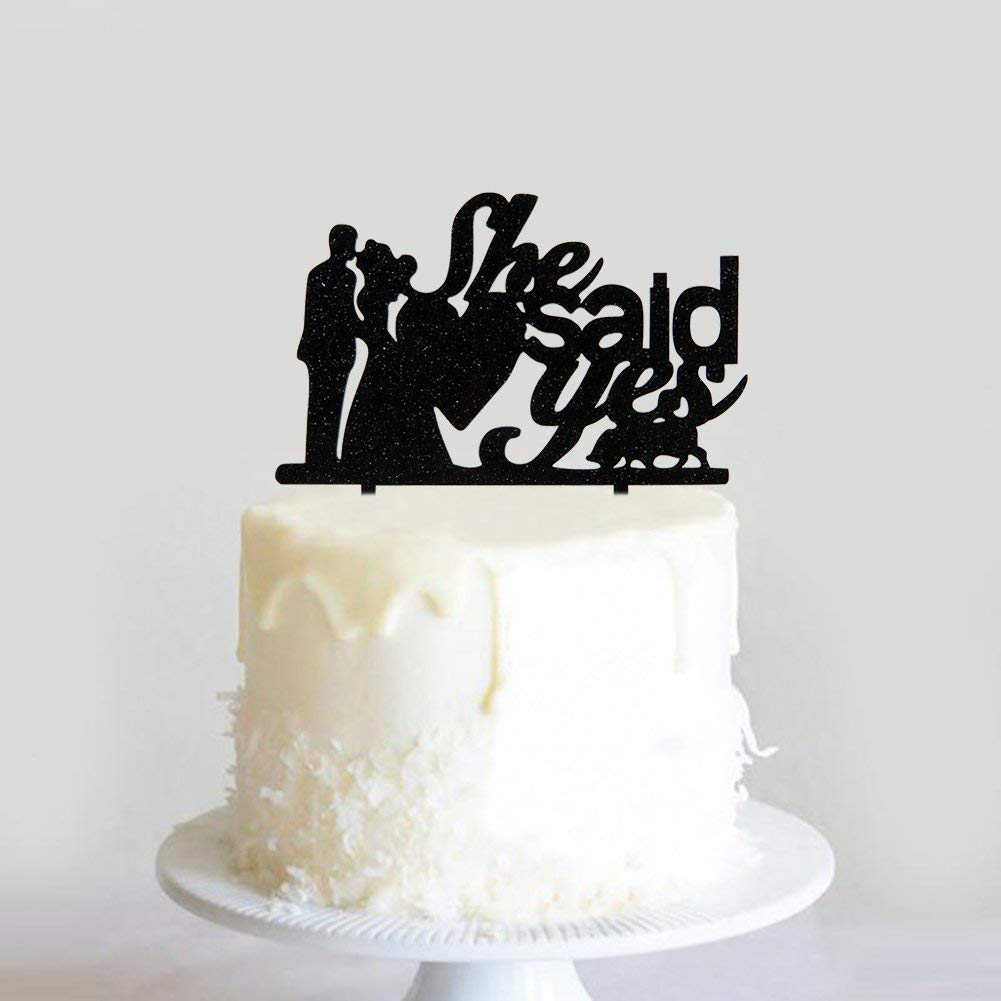171ef81ae8d1 Get Quotations · Karoo Jan She Said Yes Kissing Bride and Groom Cake Topper