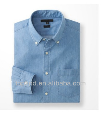 100% Leisured denim style fitted long sleeve shirt Men