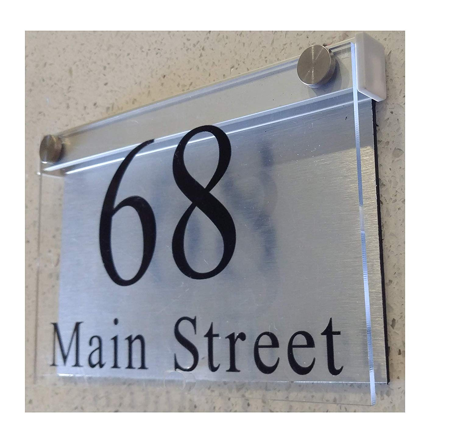 Led illuminated modern house numbers address plaque 8x5x1 size rectangle