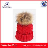 Wholesale Custom 100 Wool winter Knitted Pom Pom Beanie hat