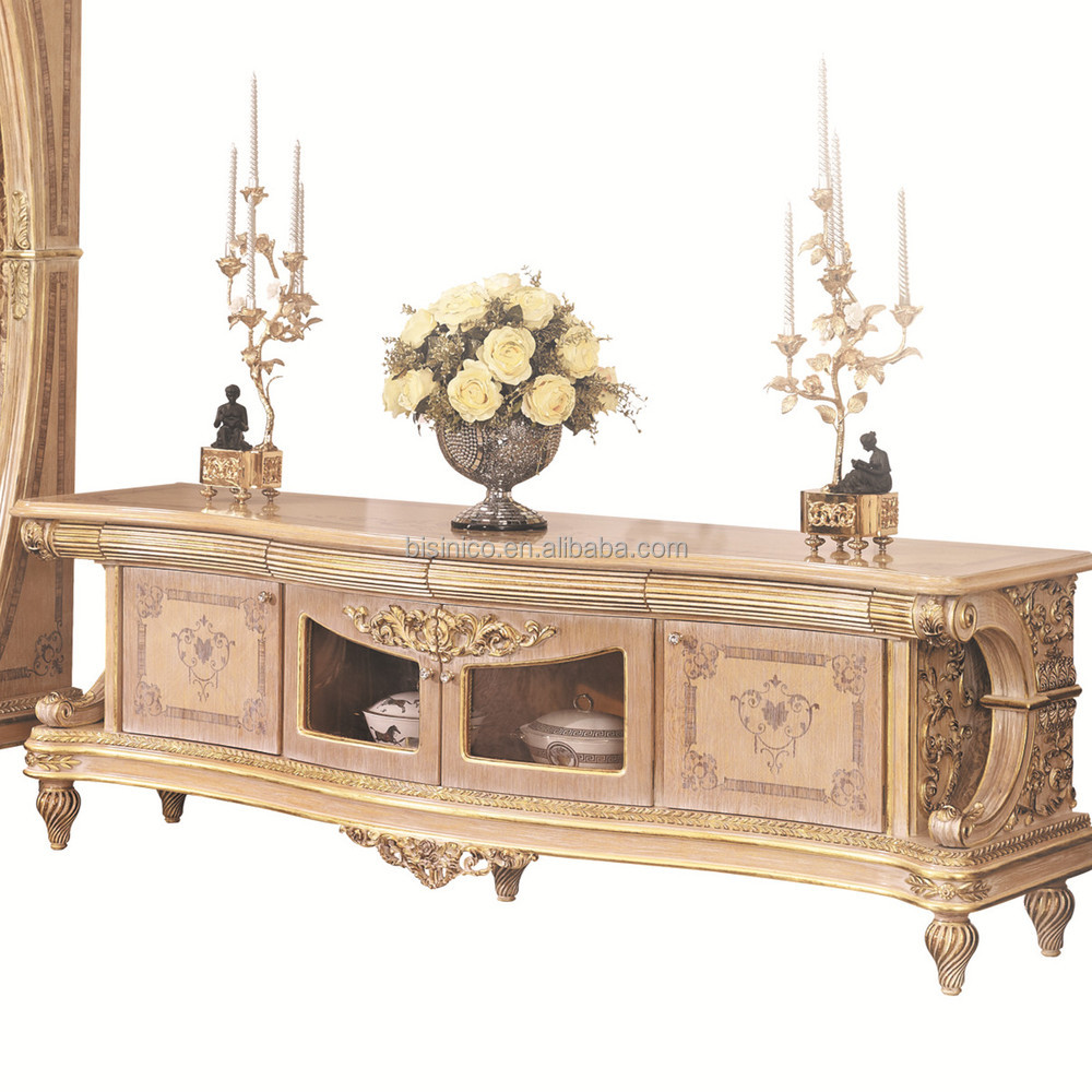 Solid wood tv cabinet with display cabinet living room furniture - Luxury French Rococo Style Living Room Tv Stand European Antique Solid Wood Hand Carved Tv