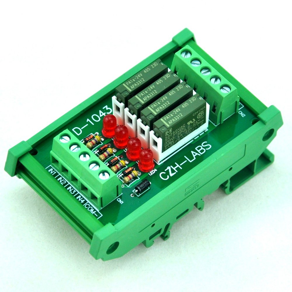 ELECTRONICS-SALON Slim DIN Rail Mount DC24V Source/PNP 4 SPST-NO 5A Power Relay Module, PA1a-24V