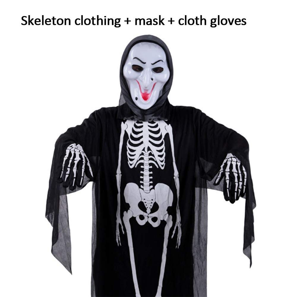 GerTong Halloween Costume Skeleton Ghost Skull Robe Clothes with Gloves and Screaming Mask,Horror Face Mask Ghost Clothing for Masquerade Costumes Halloween Party