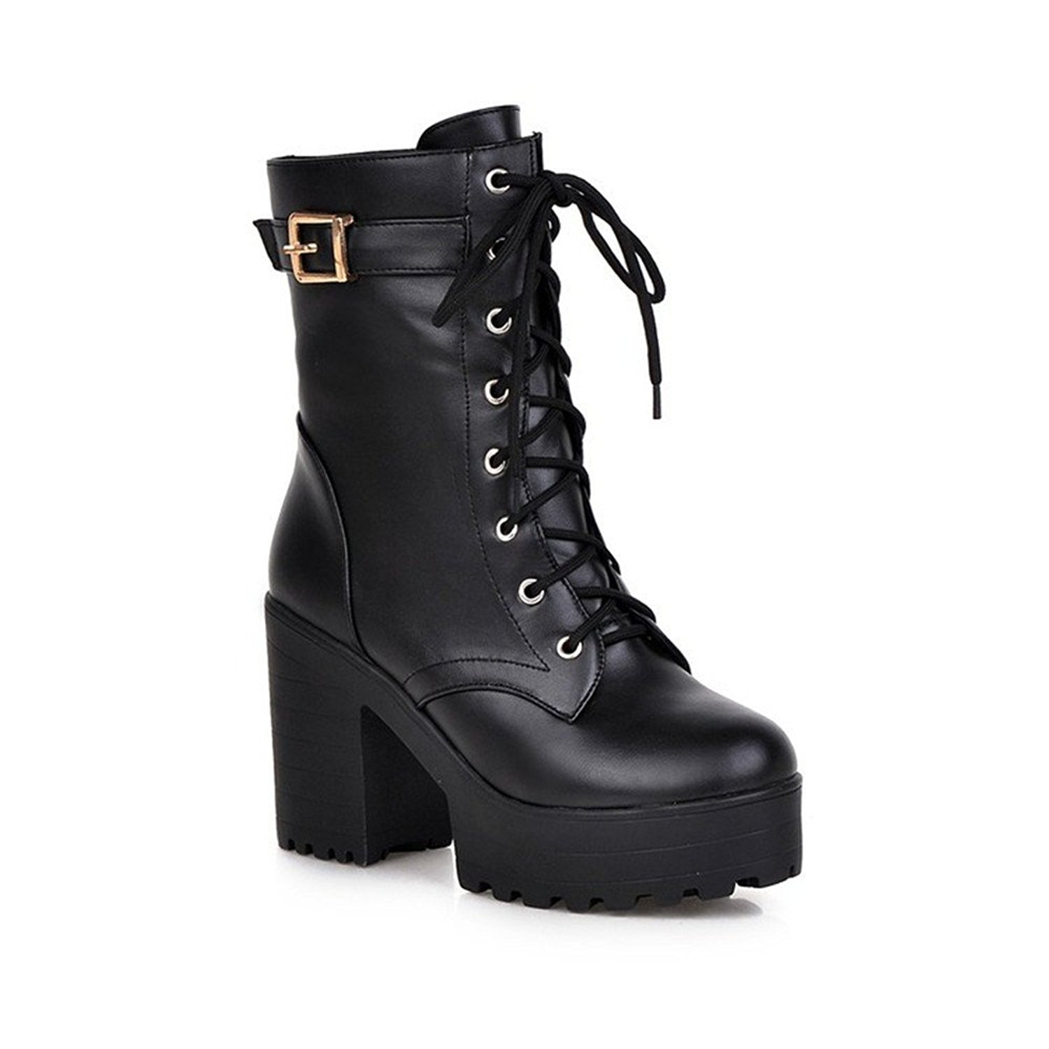 5b3620eb614 Get Quotations · Qiangsoo Women s Lace-up Buckle Boots Combat Platform  Chunky Heel Martin Boots