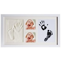 12 month baby handprint kit & footprint photo frame / clean touch baby inkpads photo frame