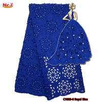 Mr.Z Laser Cut Flower Embroidery Design Swiss Voile Lace In Switzerland 3D Flower Royal Blue