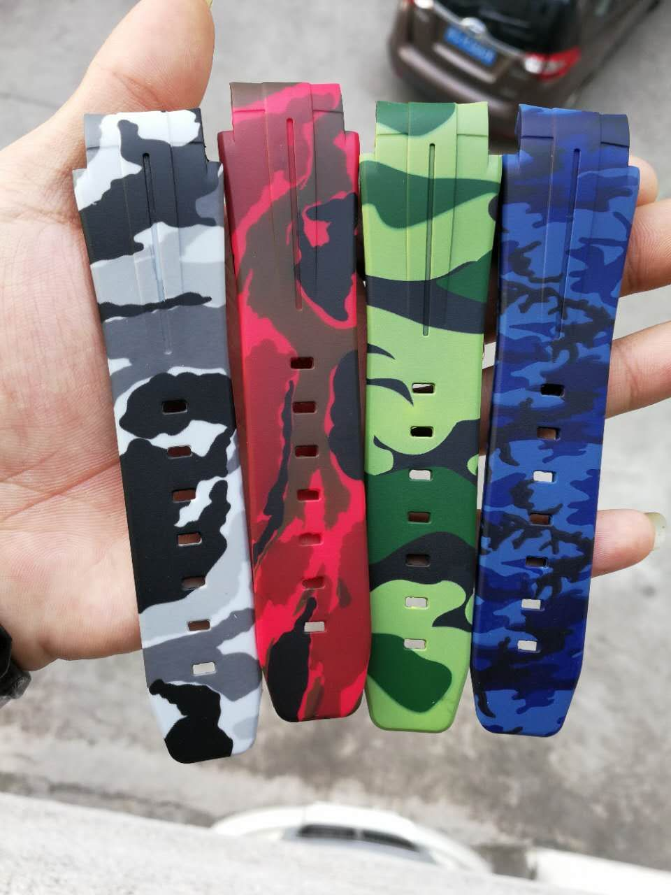 Rubber watch strap with military camo accepting custom printing