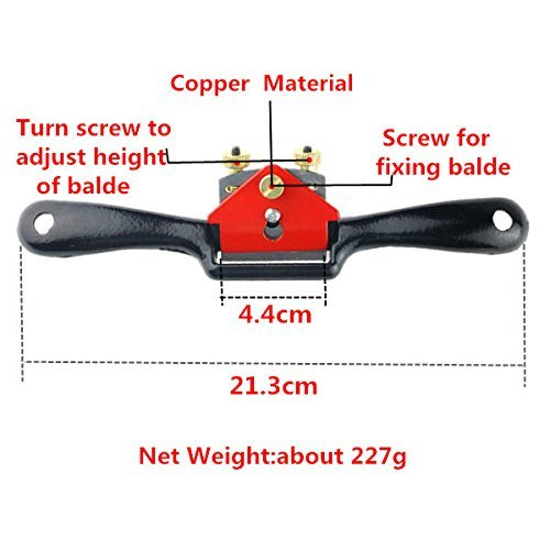 Buwico® Woodworking Plane Spoke Shave Flat Manual Planer Hand Trimming Tools Spokeshave Handy Tool 9 Inch Red and Black