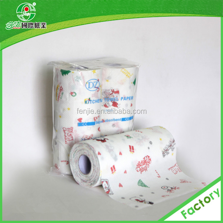 100% Virgin Wood Pulp Print 2ply Oil Absorb Kitchen Paper Towel ...