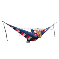 HR white&blue stripe parachute hammock ,210T nylon Hammock with two carabiners