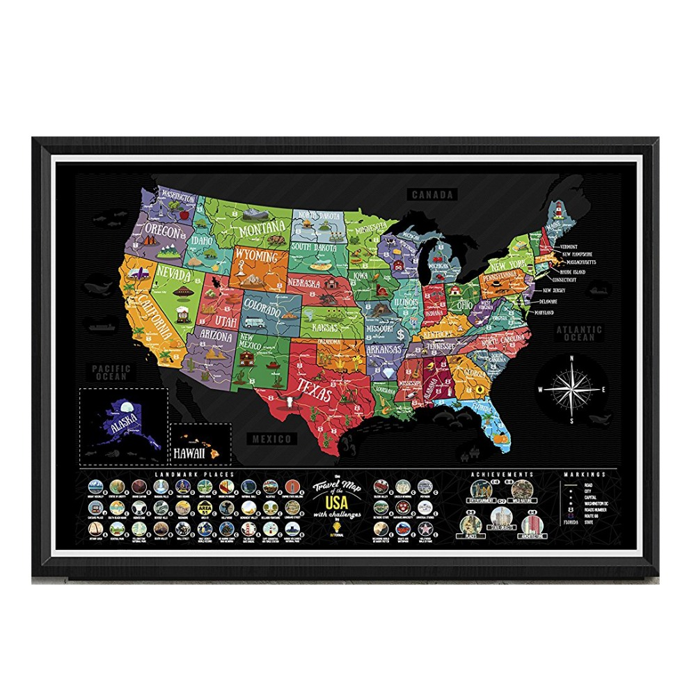 USA Scratch Map Carta Patinata Scratch off USA Map Scratch Mappa STATI UNITI D'AMERICA