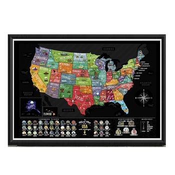 USA Scratch Map Coated Paper Scratch off USA Map Scratch Map