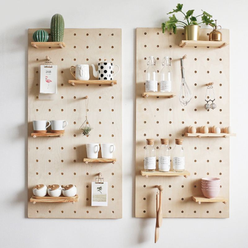 Factory Price MDF Metal Pegboard Hook Storage Display Panel Decorative Wood Board