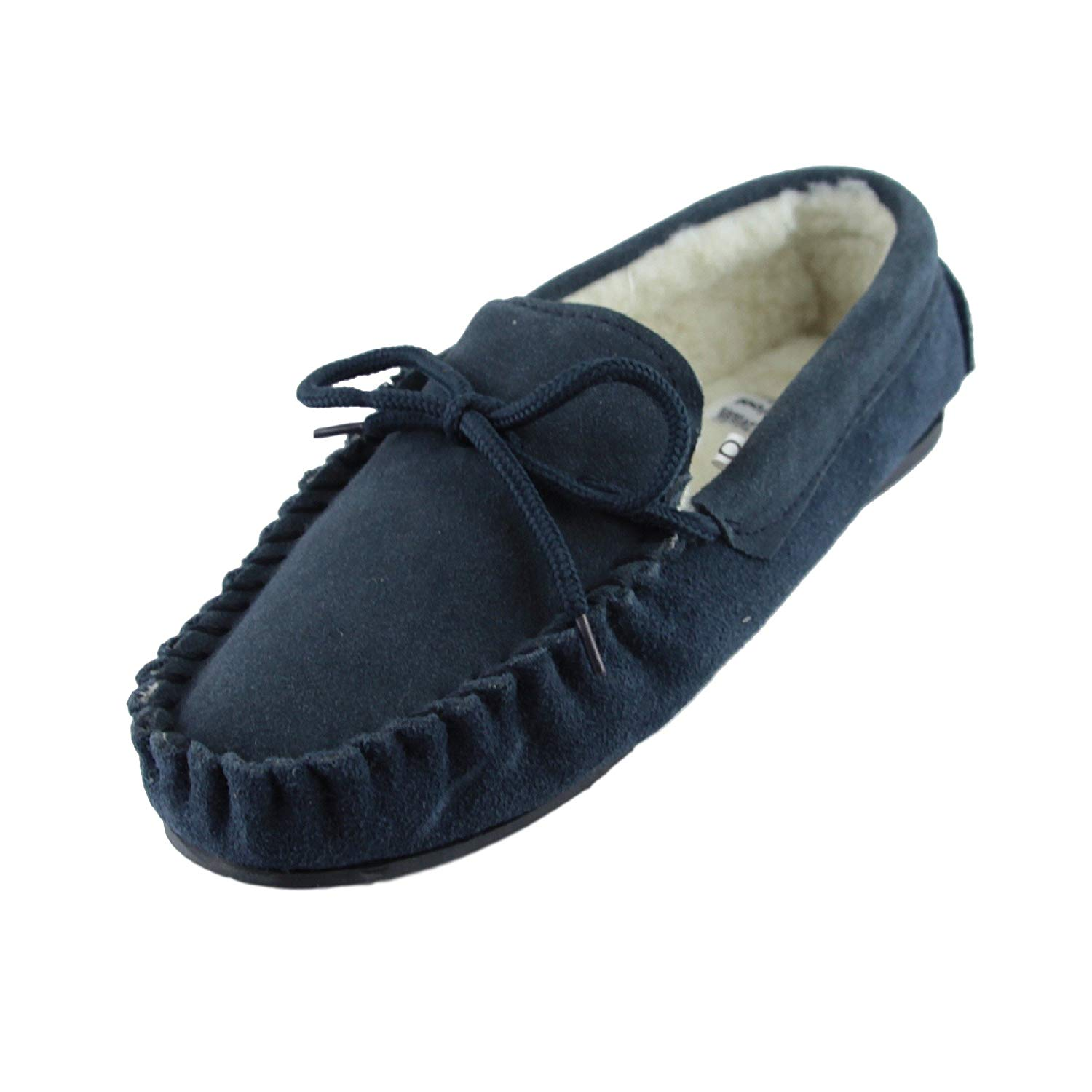 481d13fdb68 Get Quotations · Sheepskin World Deluxe Mens Lambswool Moccasin Slippers  with Hard Sole - Suede Upper