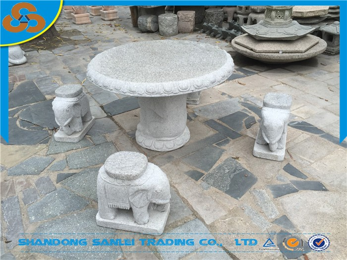 Garden Patio Stone Carved Elephant Table And Benches Set Supplier