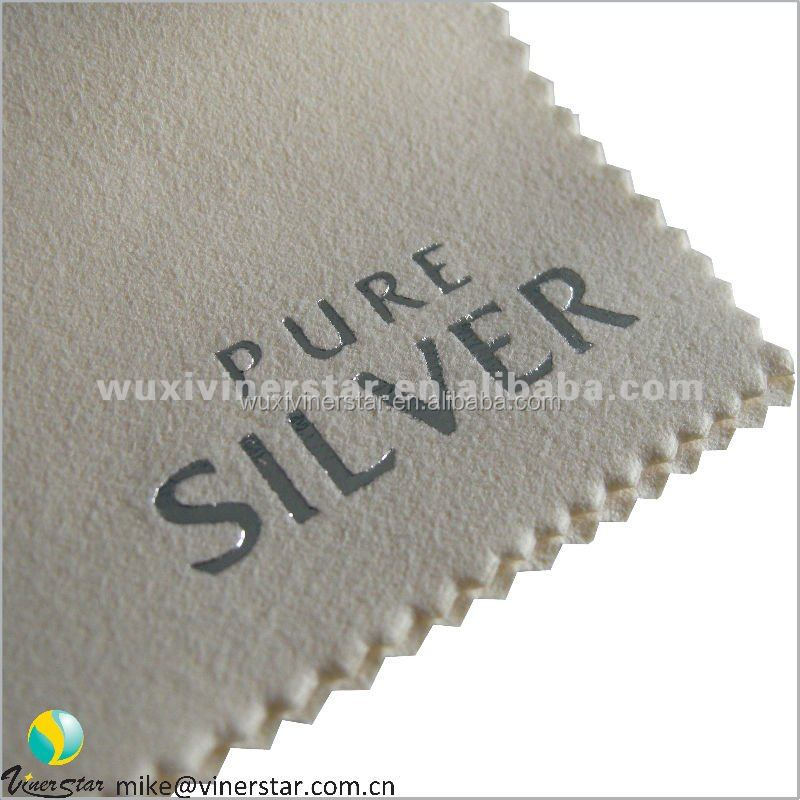 grey microfiber silver polishing cloth with embossed print