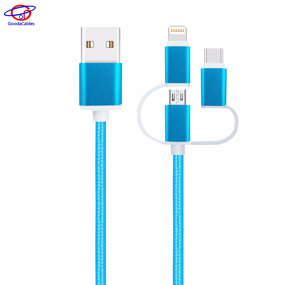 High quality FDY Nylon braided usb multi charger data cable with three mini micro IOS type c connectors to switch