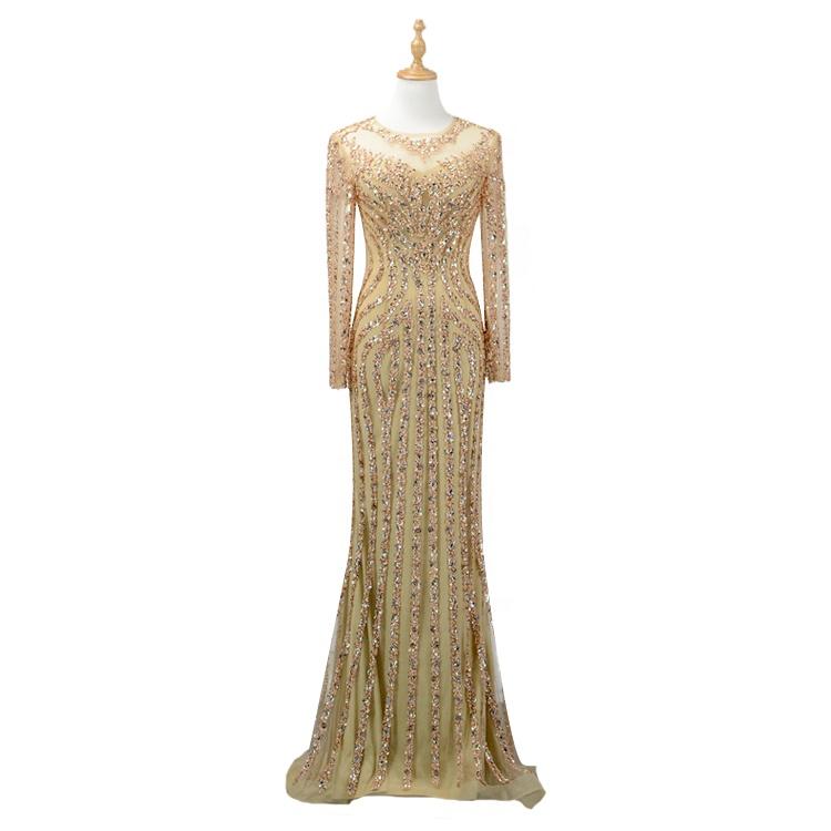 b2aaeb8290e1ab 2018 pailletten Gold/Silber Shiny Luxus Damen Abendkleider Mit Langen  Ärmeln Maß Vestido Festa