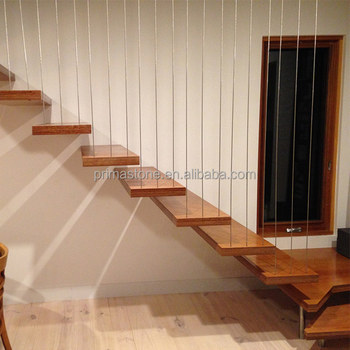 Natural Oak Wood Tread Floating Stairs Removable Stair Railing