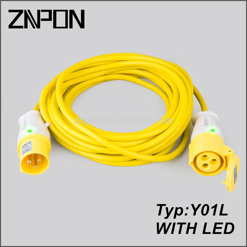 Y01L Yellow extension cord plug and socket with led light