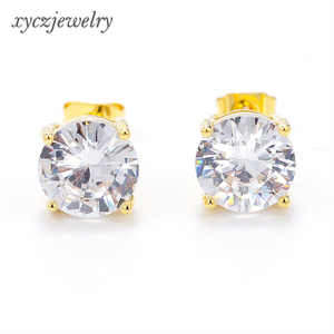 Hot Sell Women Classic Single Round Cubic Zirconia Stone Brass Stud Earrings