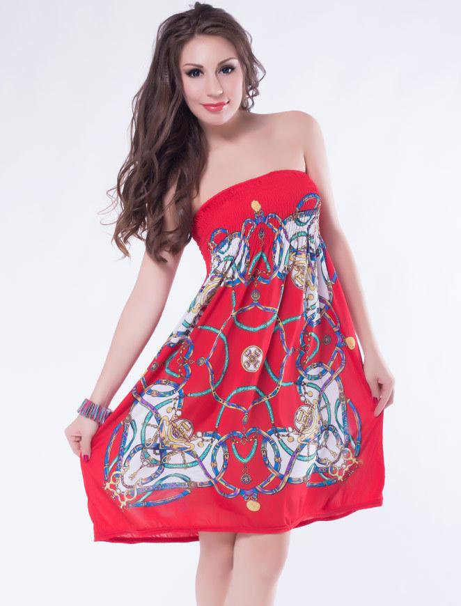 Rojo Brillante Vestido Corto Sin Tirantes Puffy Vestidos De Playa De ...