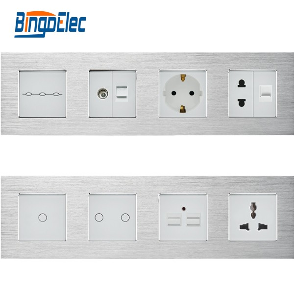 Hotel New Design Euro Standard 4frame modular design switch and socket