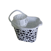 15L supermarket wholesale plastic heavy duty mop bucket with plastic swing handle
