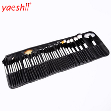 yaeshii 36pcs Professional White/Black Full Set Cosmetic Brush Makeup Blush Brushes with Case