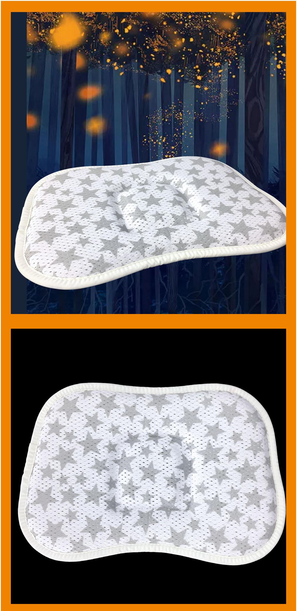 Wholesale soft newborn nursing pillow floral 3d air cool mesh fabric flat head baby pillow