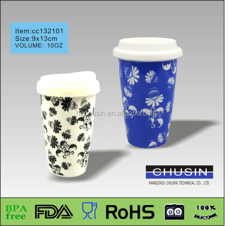 hot selling slip and heat resistant Double Wall Ceramic Mug With Silicon Lid