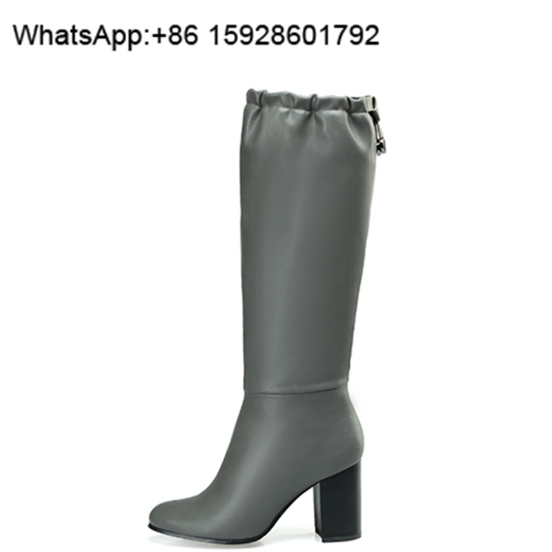 Genuine leather Elastic mouth women boots Motorcycle fashion boots China factory made TH5