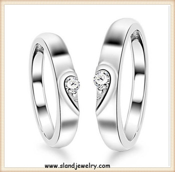 Unique Design Half Heart 925 Sterling Silver Wedding Rings Sets With
