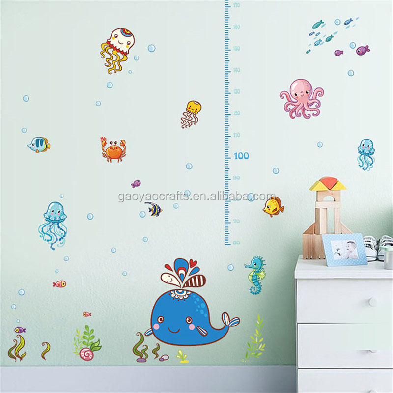 180cm baby height measure wall stickers growth chart seabed nemo