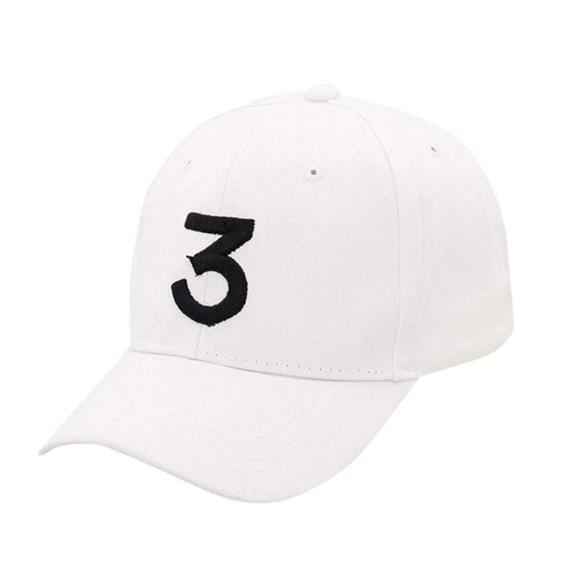 SUKEQ Unisex Number 3 Printed Twill Cotton Baseball Cap Vintage Adjustable Dad Hat Polo Style Cool Hip Hop Hat for Travel, Sporting, Running, Cycling, Camping, Fishing