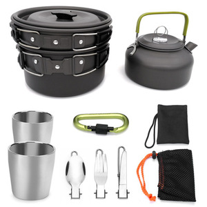 Portable Outdoor Cookware Kettle Cup Pot Set Camping Mess Kit Carabiner Tableware Set
