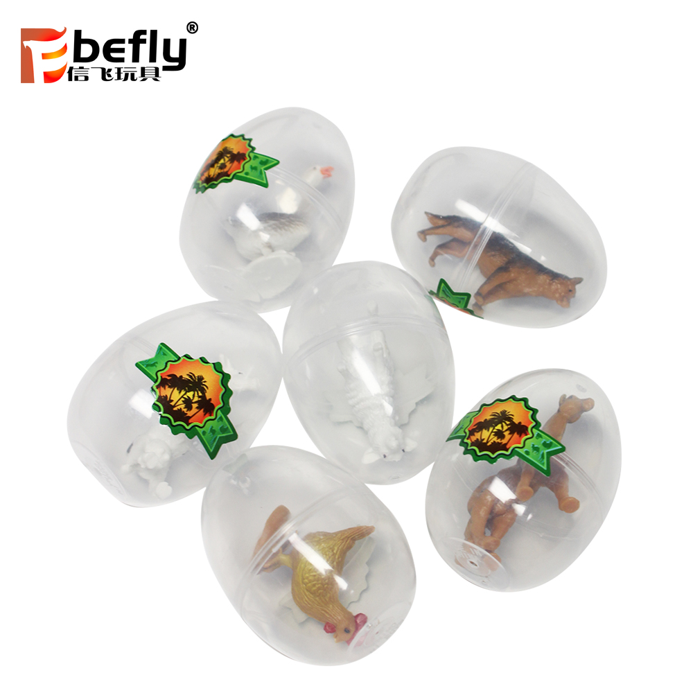 Party decoration transparent toy easter egg with mini plastic animal