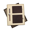 Luxury high quality genuine leather wallet with wood pen gift set