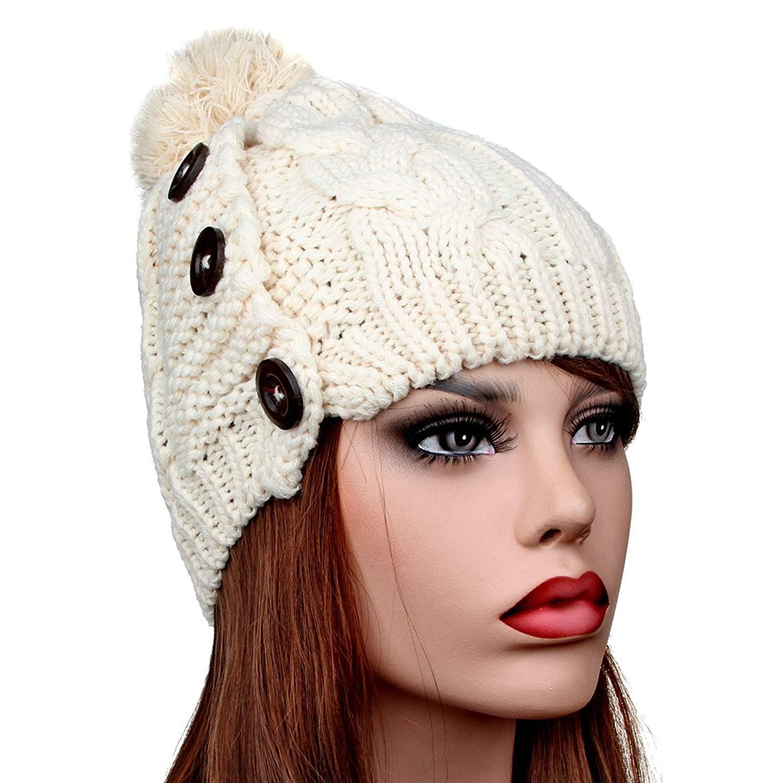 8c2016d7efe Get Quotations · TENGYI YiTeng Women s Button Detail Knitted Winter  Earmuffs Cap Hat