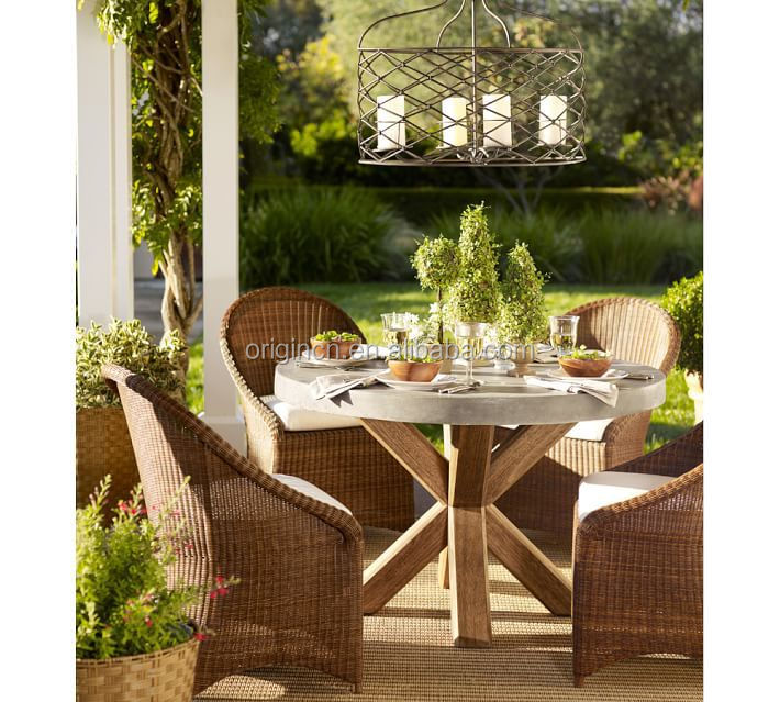 Concrete Top Wooden Round Table 5 Pieces Wicker Chairs Outdoor Coffee  Furniture