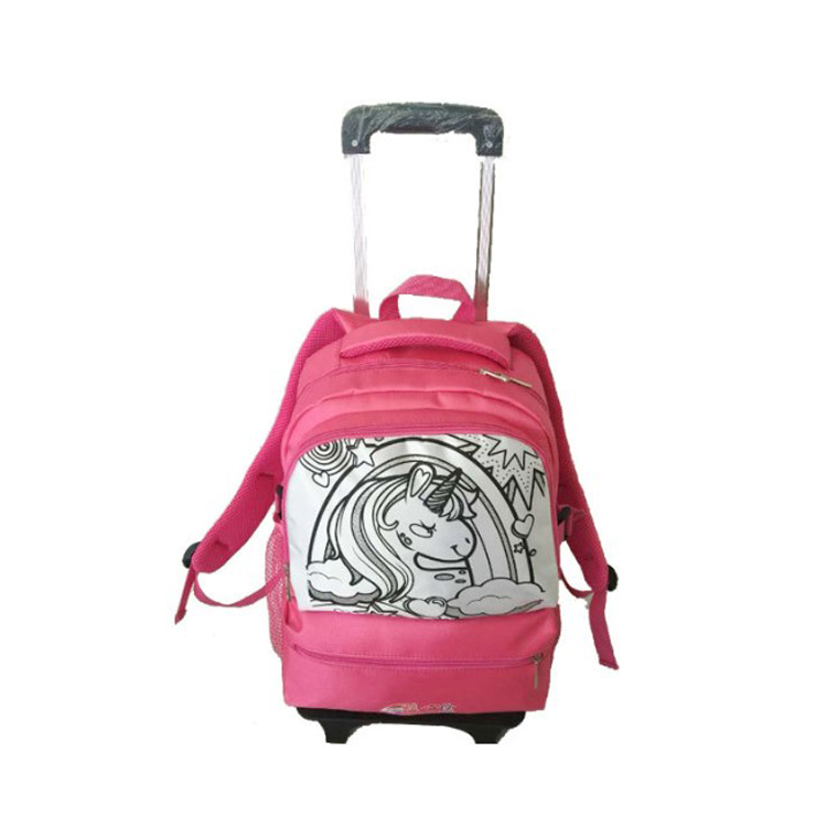 Personalized waterproof girl easy trip DIY sport school removable trolley school backpack bag