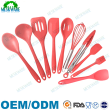 Non stick high quality heat resistant pink silicone cooking utensils set