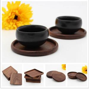Black walnut Wood Coasters Cup Bowl Pad Mat Coffee Tea Cup Pads&Mats Teapot Drink Coasters